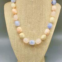 Pastel Color Marbled Lucite Vintage Necklace Beaded Strand