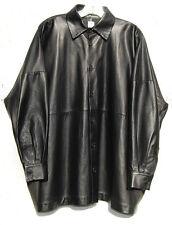 Eskandar BLACK Medium Weight Butter Soft Leather Classic Collar Jacket (1) $3995