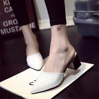 Womens Mid Block Heel Slip on Pointy Toe Mules Party Casual Slippers Shoes Size