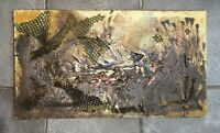 "ALICE RAHON OIL 36"" x 20"" RESIN SAND ON CANVAS SIGNED PAINTING"