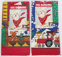 "2 Dog Pet Bandanna Scarf Christmas Cotton 22"" Square Grooming PARIS 2000 NWT"