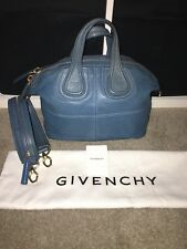 20015ff47f7b Distress Givenchy Blue Nightingale Small 2 Way Zipper Strap Handbag Lamb  Leather