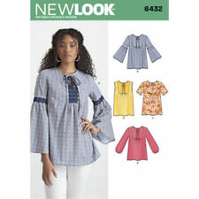 New Look Sewing Pattern size 8-20 Misses' Boho Blouses Tops Sleeve Var 6432