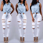 Femmes Jeans skinny déchiré Pantalon taille haute élastique long crayon