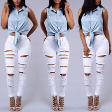 Women's Denim Pants Ripped Slim Skinny Boyfriend Jeans Long Trousers Jeggings