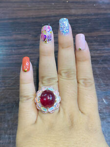 NATURAL RUBY CAB15X13 FIRE OPAL PINK SAPPHIRE DIAMOND CUT STERLING SILVE925 RING