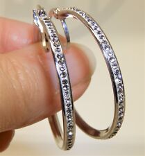 LARGE 925 STERLING SILVER CREOLE SIMULATED ROUND CUT DIAMOND 38mm HOOP  EARRINGS