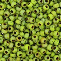 Miyuki Round Rocaille Seed Beads Size 8/0 Picasso Chartreuse Matte 24G (8-4515)