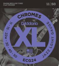 D'Addario ECG24 Box10 XL Chromes Flat Jazz Light 011-050 Electric Guitar Strings