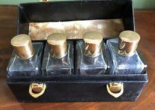 Gilt Cologne Perfume Bottles Embossed Coronet Set Leather Case Antique Monogram