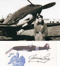 Italy Ace Luigi Gorrini WWII ACE Pilot 19 Victories SIGNED 3x5 LOGO CARD