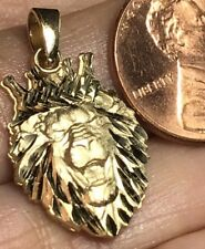 GOLD 14k Lion crown king pendant Yellow Diamond Cut necklace 2.3g 1""