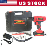 21V Cordless Electric Drill Double Speed Torque LED Kit Set + Li-ion Battery