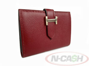 BIDONLY! AUTHENTIC $2225 HERMES Bearn Rouge Casaque Epsom Leather Card Holder
