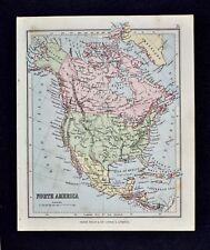 1889 Hughes Map - North America - United States Canada Mexico Cuba Alaska
