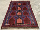 Authentic Hand Knotted Afghan Taimani Balouch Wool Area Rug 4 x 3 Ft (513 HMN)