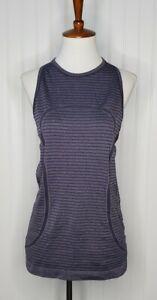 Lululemon Purple Stripe Run Swiftly Tech High Neck Tank Top Women's Size 8