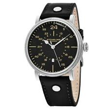 Stuhrling 656 01 Zeppelin Aviator Quartz Date Black Leather Strap Mens Watch