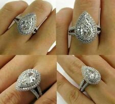 1.50Ct Pear-Cut VVS2 Diamond Double Halo Engagement Ring 14k White Gold Finish