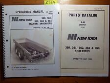 New Idea 360 361 362 363 364 Manure Spreader Owner Operator + Parts Manual '86