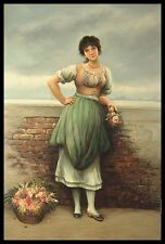 "* 36""x24"" Oil Painting on Canvas, Lady with a Basket of Flowers, Hand Painted"