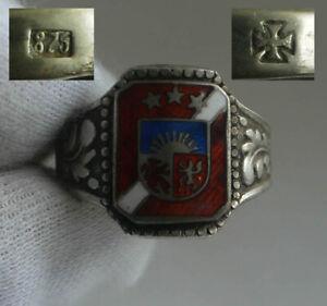 GERMAN WW2 Gr.Div.Division Legion Enamel Oak Leaves & Acorns Cross Silver Ring