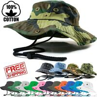 Mens Outdoor Boonie Bucket Hat Fishing Camping Military 100% Cotton Safari Cap