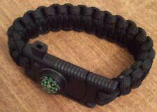 5 in1Survival Milatery Bracelet Knife Compass Flint Fire Starter Scraper Whistle