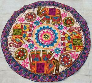 HANDMADE ROUND EMBROIDERY TRIBAL ETHNIC WALL HANGING/PATCH DECOR TAPESTRY