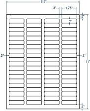 """1 3/4"""" x 1/2"""" Perm Adhesive Sheeted Inkjet & Laser White Labels - 20,000 Labels"""