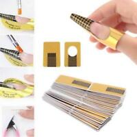 100PC Nail Art Tips Extension Forms Guide French DIY Tools Acrylic UV Gel Golden