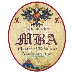 Master of Business Administration MBA Nostalgieschild