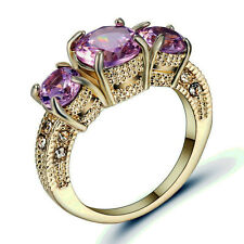 Pink Sapphire Three Stone Wedding Ring Gold Rhodium Plated Christmas Gift size 9