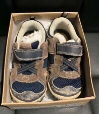 Stride Rite 8W Gavin Blue Brown V Good Cond W Box Boys' Toddler Sneakers Shoes!
