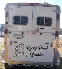 Your Custom Name & Horse - Horse Trailer Truck Decal Stickers 28x60