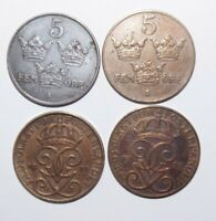 1920, 30, 31, and 46, 5 Ore Sweden a Lot of 4 High Value Coins