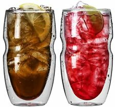 Ozeri Serafino Double Wall Insulated Iced Tea and Coffee Glasses, 16-Ounce, Set