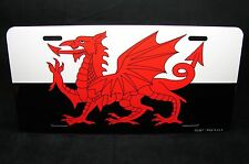 WELSH DRAGON LICENSE PLATE TAG FOR CARS  WALES  FLAG BLACK AND WHITE FORMAT