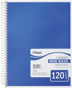 Mead Spiral Notebook 3 Subject Wide Ruled Paper 120 Sheets 10-1/2 x 7-1/2 inches