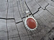 Empowering Jewelry Alloy Necklace Red Goldstone Pendant Boho Indie Silver Plated