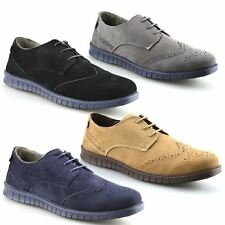 Mens New Casual Brogues Smart Formal Office Lace Up Faux Suede Brogue Shoes Size