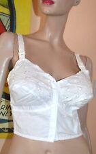 White 1950's Bullet style long line front fastening bra 36C