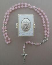 Rosenkranz rosa Perlen mit Schatulle Motiv Kelch Kommunion Mädchen RL 504 -3