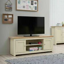 TAD | Lisbon Large Cream & Oak TV Unit Cabinet Stand Media 2 Door 2 Shelf 130cm