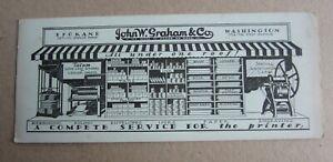 Old Vintage John W. Graham PRINTER SUPPLIES - Advertising BLOTTER - Spokane WASH