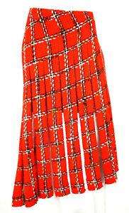 JUNYA WATANABE Fall 2001 NWT Red Plaid Tweed PVC Inset Midi Skirt S
