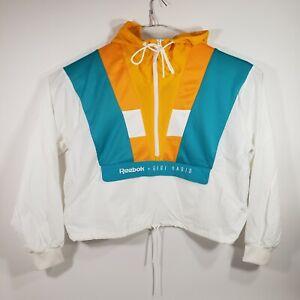 Reebok Womens Large Classics Gigi Hadid Pullover Track Jacket Yellow White Blue