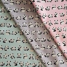 Panda Cotton Fabric: Children's Grey Pink Mint Animal Kids Black Material Cute