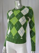 J.CREW XS Wool/Angora/Cashmere Spring Green Argyle Scoop Neck Sweater Pullover