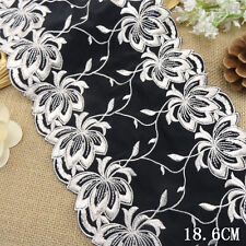1 Yard Black Floral Embroidered Stretch Lace Trim For DIY Craft Wide 7 1/2""